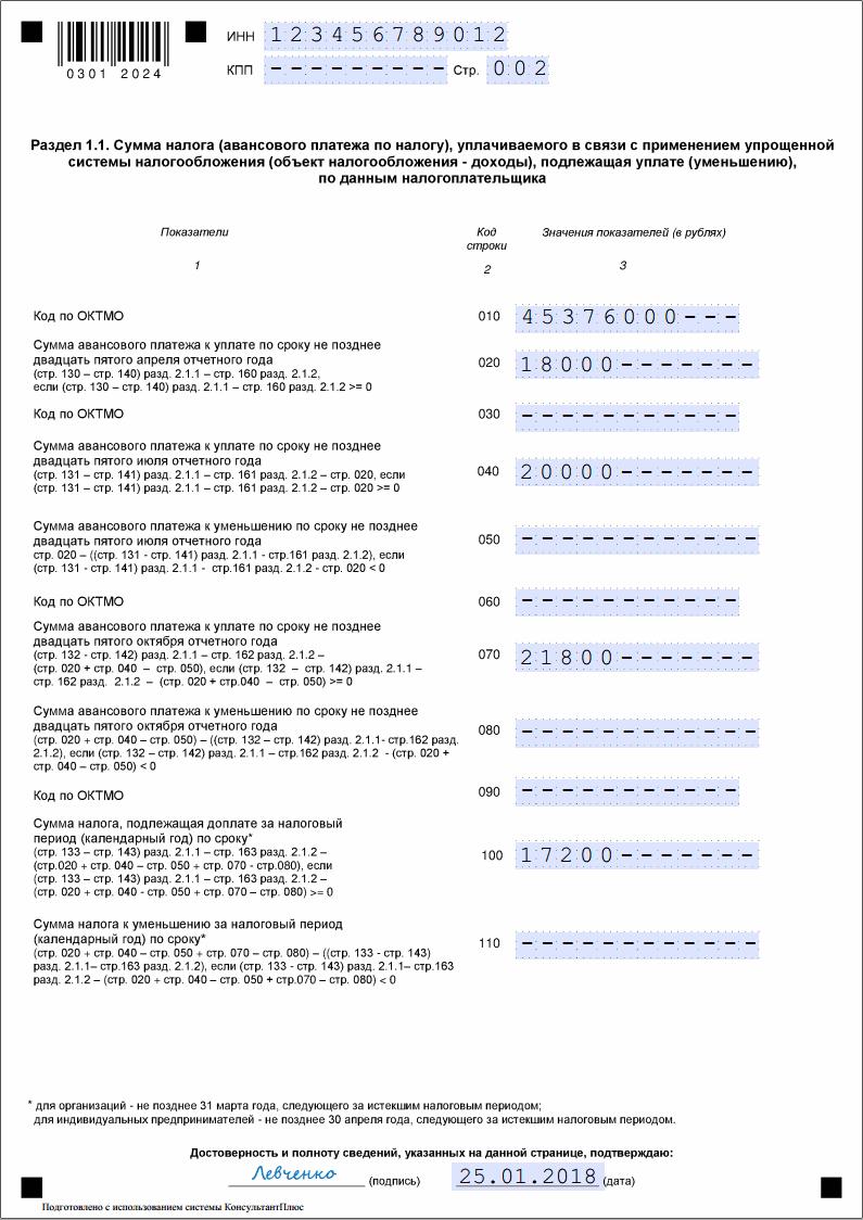 Декларация по УСН Доходы: пример заполнения