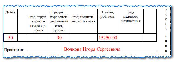 Приходный кассовый ордер: пример заполнения, бланк