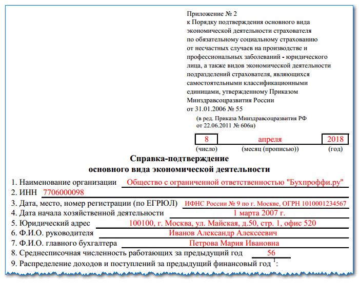 Подтверждение основного вида деятельности в ФСС