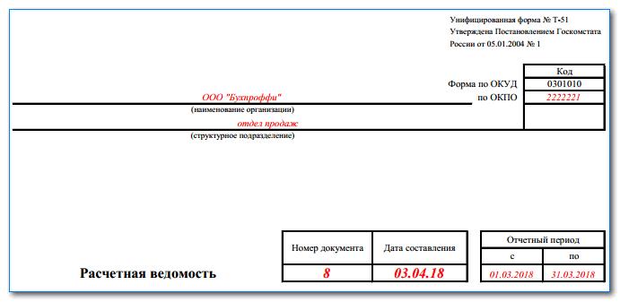 Расчетная ведомость т-51