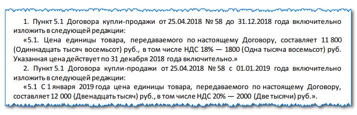 Дополнительное соглашение к договору об изменении ставки по НДС с 2019 года - образец оформления